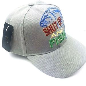 Shut up and fish hat gray adjustable back
